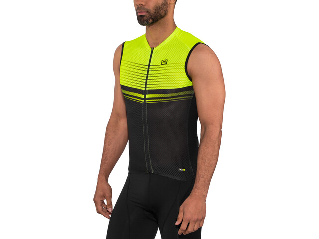 Alé Cycling Graphics PRR Slide Maglia jersey senza maniche Uomo, black flou yellow